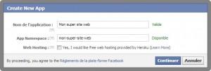 Facebook - Popup de création d'une application